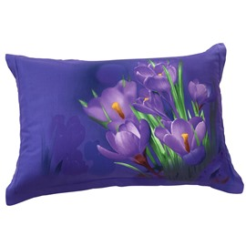 New Arrival Fragrant Lovely Purple Flowers Two Pieces Pillow Case