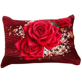 New Arrival Delicate Bright Red Roses Two Pieces Pillow Case