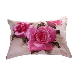 Fancy Vivid Flower Print 3D Two-piece Full Cotton Pillowcases