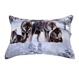Quality Smart Wolf in Snow Print 3D Two-piece Full Cotton Pillowcases