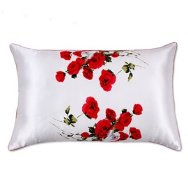 Blood Red Rose Arranged Painting One Piece Mulberry Silk Skincare Pillow Case