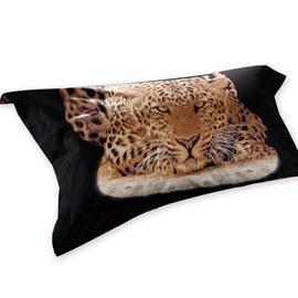 Unique 3D Leopard Reactive Printing One Pair Pillowcases