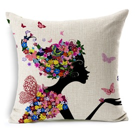 The Angel Girl In Flowers Printing Throw Pillowcase