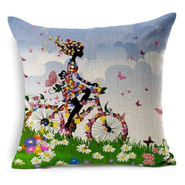 The Girl Riding a Bike Printing Throw Pillowcase