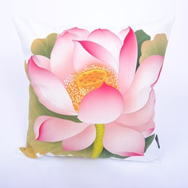 Lifelike Graceful Lotus Digital Printing Throw Pillowcase