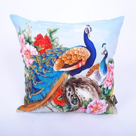 Attractive Peacock Peony Digital Printing Throw Pillowcase