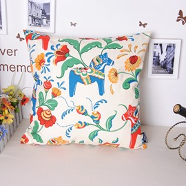 Novel Hobbyhorse Pastoral Flowers Printing Throw Pillowcase