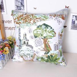 European Castle Pine Print Cotton Throw Pillowcase