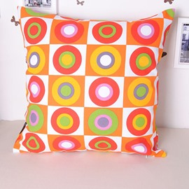 Chic Plaid Colorful Circle Style Throw Pillowcase