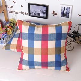 Mediterranean Style Fashion Plaid Design Throw Pillowcase