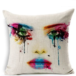 Chic Face Colored Drawing Print Throw Pillowcase