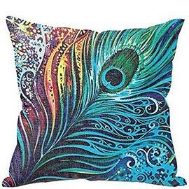 Vintage Peacock Feather Design Linen Throw Pillow Case