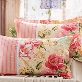 Fancy Flowers Printing 100% Cotton 2-Piece Pillow Cases