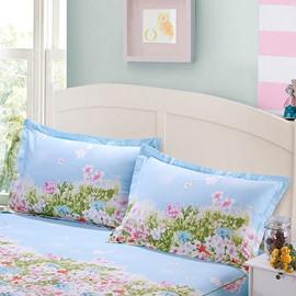Pastoral Flowers and Grass Print Blue 2-Piece Cotton Pillow Cases