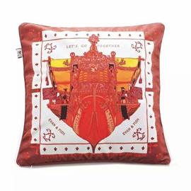 Original Sailing Ship Paint Red Throw Pillow
