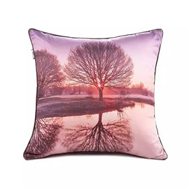 The Reflection of the Tree Paint Throw Pillow