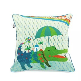 Cult Green Crocodile Paint Throw Pillow