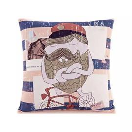 Cartoon Funny Merman Paint Throw Pillow Case