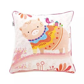 Cartoon Pink Pig Paint Throw Pillow Case