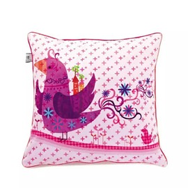 Cartoon Purple Bird Paint Throw Pillow Case