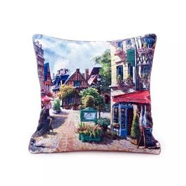 Neat Streetscape of European Town Paint Throw Pillow Case