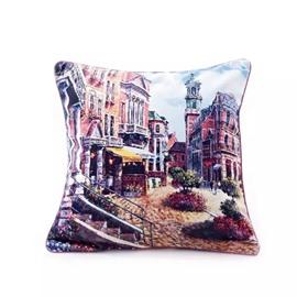 Romantic Town of Roman Paint Throw Pillow Case