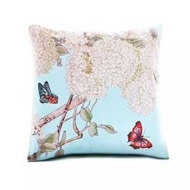 Two Butterfly Flying through Flos Sophoraes Paint Throw Pillow Case