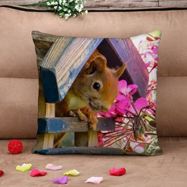 Country Style Squirrel and Flowers Cotton Throw Pillow Case