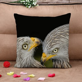Dignified Eagle Eyes Black Cotton Throw Pillow Case