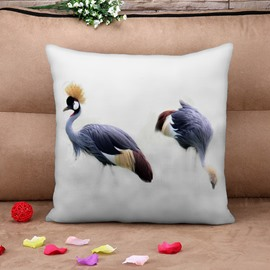 Red-crowned Crane in The Air White Cotton Throw Pillow Case