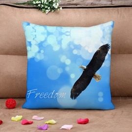 Blue Sky and Eagle Blue Cotton Throw Pillow Case