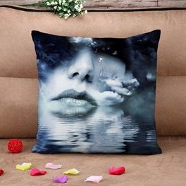 Dark Black Crying Woman Cotton Throw Pillow Case