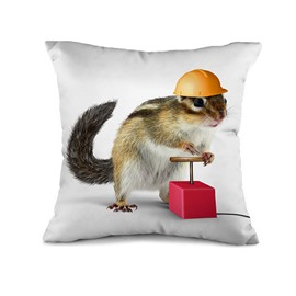 Lovable Mouse Worker Design Print Throw Pillow Case