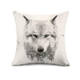 Unique Snow Wolf Print Throw Pillow Case