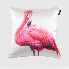 Elegant Red Flamingo Print Silk-like Throw Pillow Case