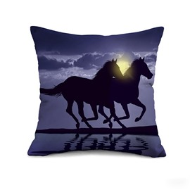 Magic Night Vivid Running Horses Print Throw Pillow Case