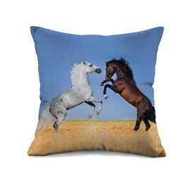 Amazing Lifelike Horses Print Throw Pillow Case