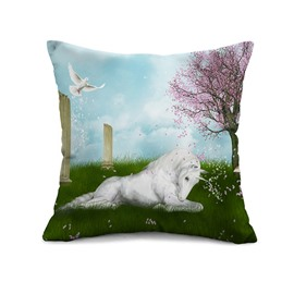 Dreamy White Horse Print Throw Pillow Case