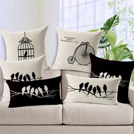 Retro Style Bird Silhouette Print Throw Pillow Case