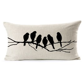Vintage Style Lovely Bird Print Throw Pillow Case
