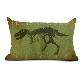Retro Style Dinosaur Print Green Throw Pillow Case