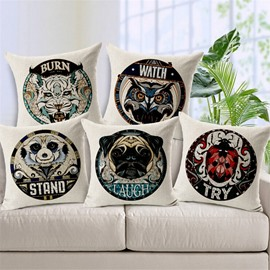 Unique Design Animal Badge Print Throw Pillow Case