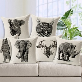 Sketch Style Elephant Print Throw Pillow Case