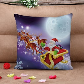 Festal Santa and Sleigh Print Throw Pillow Case