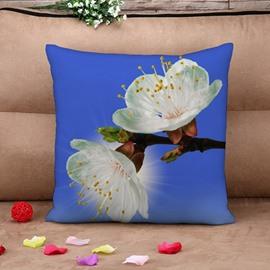 Fresh White Pear Blossom Print Throw Pillow Case