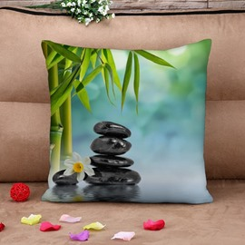 Bamboo and Cobblestone in River Print Throw Pillow Case