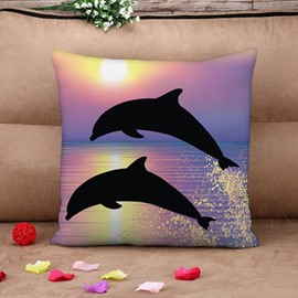 Jumping Dolphins Printed 3D Purple Throw Pillow Case