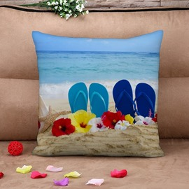 Relaxing Beach and Sea Scenery Print Throw Pillow Case