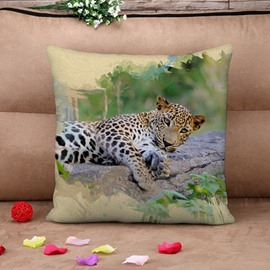 Vigorous 3D Leopard Print Throw Pillow Case