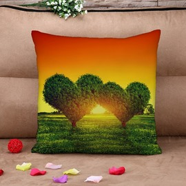 Fantastic Green Heart Shape Tree Print Throw Pillow Case